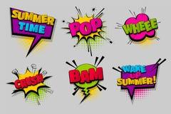 Pop art comico stabilito del fumetto del testo Fotografia Stock