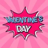Pop Art Comics Icon Happy Valentines-Kaart van de de Bellen Retro Groet van de Dagtoespraak stock illustratie