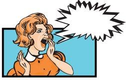 Pop art comics Scared woman - retro clip art Illustration Royalty Free Stock Images