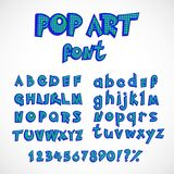 Pop art comics style alphabet collection set. capital and small letters with numbers. Vector abc in retro style royalty free illustration