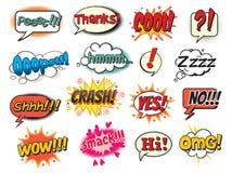 Pop art comics style. Cool, smack, oops, wow, thanks, yes, no, hi, crash, omg, hmm, psst, shh! Bubble template for comics. Pop art comics style. Vector vector illustration