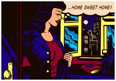 Pop art comics style woman coming back home after work to her apartment vector illustration Stock Images