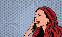 Pop Art Comics Woman Vector illustratie royalty-vrije illustratie