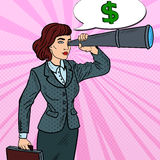 Pop Art Confident Business Woman Looking in Spyglass Searching Money. Vector illustration royalty free illustration