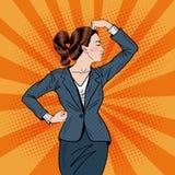Pop Art Confident Business Woman Showing Muscles. Vector illustration vector illustration