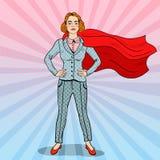 Pop Art Confident Business Woman Super-Held Royalty-vrije Stock Foto's