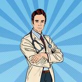 Pop Art Confident Doctor Man with Stethoscope. Vector illustration stock illustration