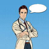 Pop Art Confident Doctor Man with Stethoscope royalty free illustration