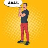 Pop Art Confident Man Posing met het Gebaar van het Vingerkanon Blije kerel stock illustratie