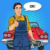 Pop Art Confident Smiling Mechanic met Moersleutel beduimelt omhoog Royalty-vrije Stock Fotografie