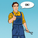 Pop Art Confident Smiling Mechanic with Wrench Thumbs Up. Vector illustration stock illustration