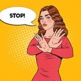 Pop Art Confident Woman Showing Stop Hand Sign. Vector illustration vector illustration