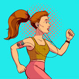Pop art corrente della ragazza Preparando per una maratona in uno stile comico Illustrazione EPS10 di vettore Fotografia Stock Libera da Diritti