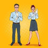 Pop Art Couple of Serious Inspectors in White Gloves. Professional Auditors Royalty Free Stock Images