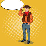 Pop Art Cowboy in Hat Smiling with Comic Speech Bubble. Wild West Hero Stock Image
