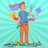 Pop Art Creative Boy Drawing on the Wall. Joyful Child Painting with Crayons on Wallpaper. Vector illustration Royalty Free Stock Photography