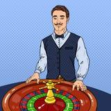 Pop Art Croupier Behind Roulette. Casino Gambling Stock Photo
