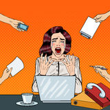Pop Art Crying Stressed Business Woman Screaming at Multi Tasking Office Work Stock Images