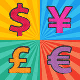 Pop art currency symbol Stock Image