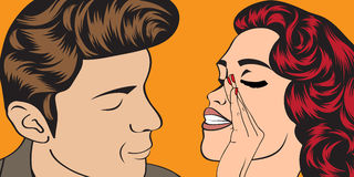 Pop art cute retro couple in comics style Royalty Free Stock Images