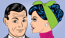 Pop art cute retro couple in comics style Royalty Free Stock Photography