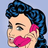 Pop art cute retro woman in comics style Royalty Free Stock Images