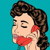 Pop art cute retro woman in comics style Royalty Free Stock Photo