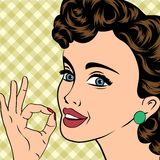 Pop art cute retro woman in comics style Stock Images