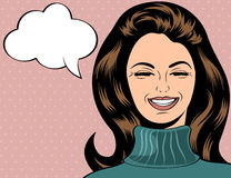 Pop art cute retro woman in comics style laughing. Illustration Royalty Free Stock Photo