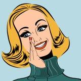 Pop art cute retro woman in comics style laughing Stock Photo