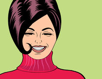 Pop art cute retro woman in comics style laughing Royalty Free Stock Photography