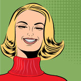 Pop art cute retro woman in comics style laughing Stock Image