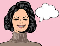 Pop art cute retro woman in comics style laughing Stock Photography