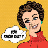 Pop art cute retro woman in comics style laughing Stock Photos