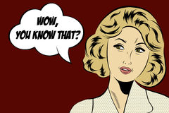 Pop art cute retro woman in comics style with message Royalty Free Stock Images