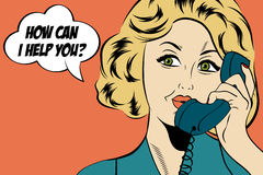 Pop art cute retro woman in comics style with message Stock Image