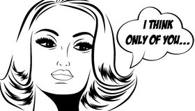 Pop art cute retro woman in comics style with message Royalty Free Stock Image