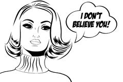 Pop art cute retro woman in comics style with message Royalty Free Stock Photos