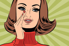 Pop art cute retro woman in comics style with message Stock Images