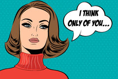 Pop art cute retro woman in comics style with message Royalty Free Stock Photography