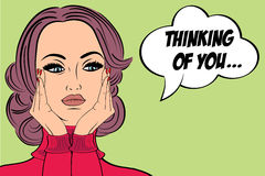 Pop art cute retro woman in comics style with message Stock Photos