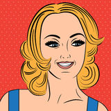 Pop art cute retro woman in comics style with message Royalty Free Stock Photo