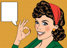 Pop art cute retro woman in comics style with OK sign Stock Photos