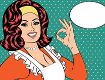 Pop art cute retro woman in comics style with OK sign Stock Photography