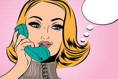 Pop art cute retro woman in comics style talking on the phone Stock Images