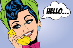 Pop art cute retro woman in comics style talking on the phone. Vector illustration Royalty Free Stock Photos