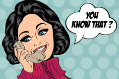 Pop art cute retro woman in comics style talking on the phone Stock Photography