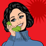 Pop art cute retro woman in comics style talking on the phone Royalty Free Stock Photos