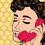 Pop art cute retro woman in comics style Stock Image