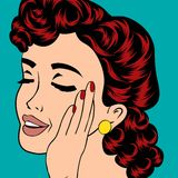 Pop art cute retro woman in comics style Stock Photos